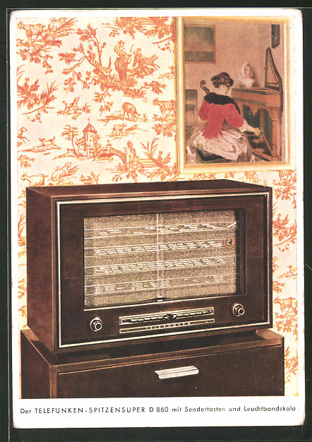 AK Telefunken-Radio Spitzensuper D 860 mit Sendertasten und Leuchtbandskala