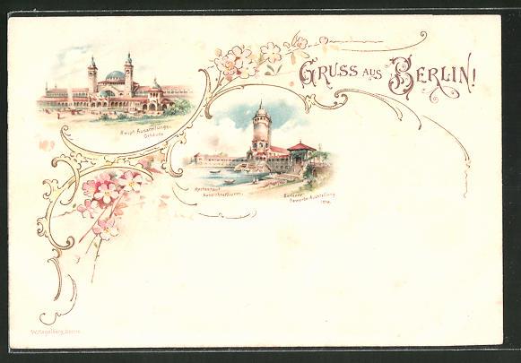 Lithographie Berlin, Gewerbe-Ausstellung 1896, Haupt Ausstellungsgebäude, Restaurant, Aussichtsthurm