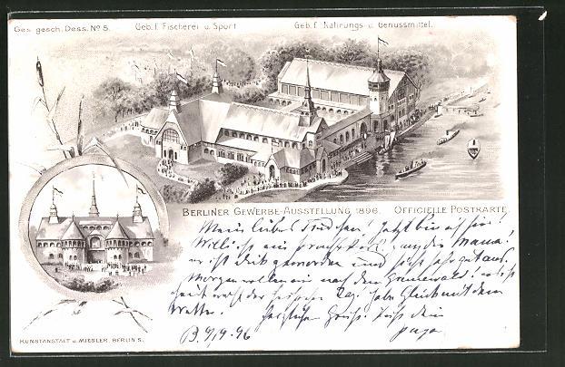 Lithographie Berlin Gewerbe Ausstellung 1896 Geb F