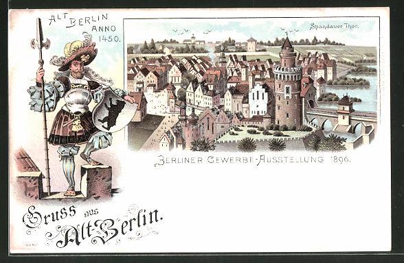 Lithographie Berlin Treptow Gewerbe Ausstellung 1896