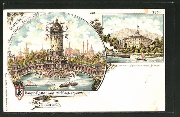 Lithographie Berlin, Gewerbe-Ausstellung 1896, Hauptrestaurant mit Wasserthurm & Scheinwerfer