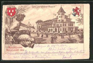 Lithographie Düsseldorf, Ausstellung 1902, Café