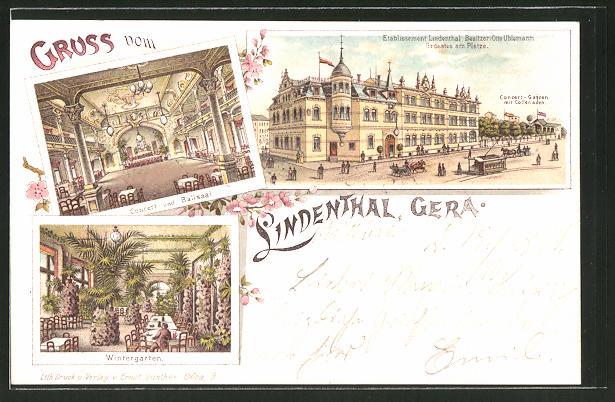 Lithographie Gera, Gasthaus Lindenthal, Concert- & Ballsaal, Wintergarten