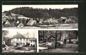 AK Brunn, Ortsansicht, Gasthaus zur Erholung, Garten