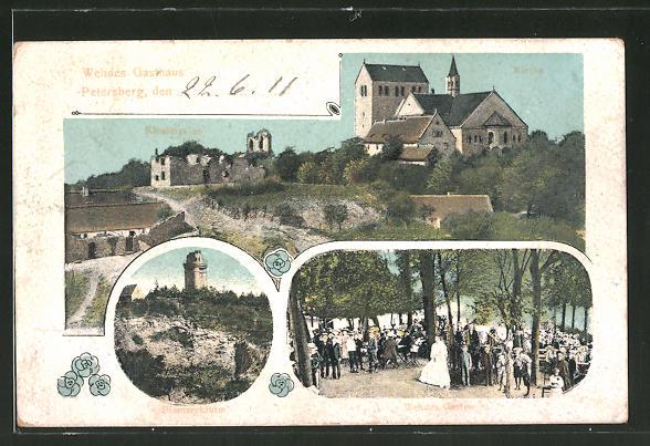 AK Petersberg, Wehdes Garten, Kirche, Bismarckturm