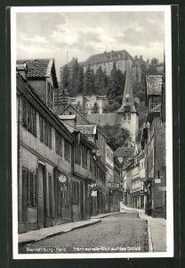 AK Blankenburg / Harz, Tränkestrasse mit Blick zum Schloss