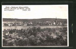 AK Werder / Havel, Panorama während der Baumblüte, Hotel & Restaurant Bismarckhöhe