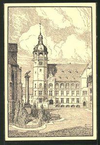 Künstler-AK Cöthen, Markt mit Rathaus