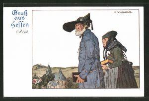 Künstler-AK Otto Ubbelohde: Älteres hessisches Paar in Tracht