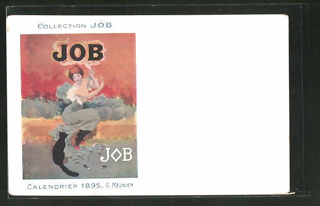 Künstler-AK Reklame für JOB Tabak, Frau mit schwarzer Katze, Jugendstil
