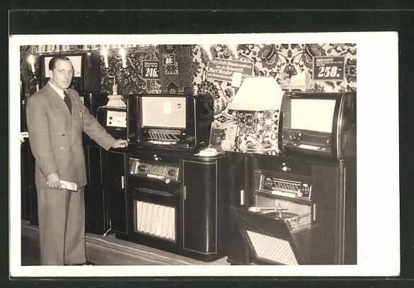 Foto-AK Verkaufsraum des Radio-Fachgeschäftes Karl Bender