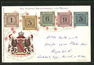 AK Die ersten Briefmarken von Baden, Wappen