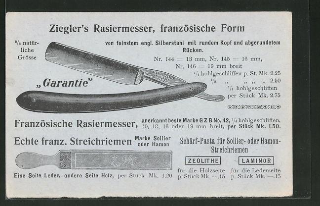 AK Bergzabern, Reklame für Ziegler's Rasiermesser