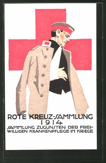 Künstler-AK Ludwig Hohlwein: Sammlung zugunsten der Freiwilligen Krankenpflege im Krieg 1914, verletzter Soldat