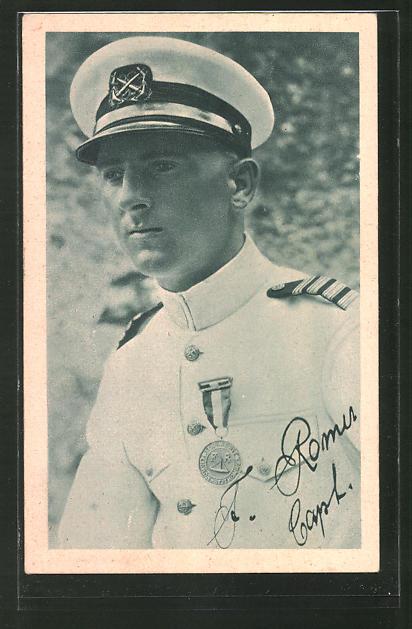 AK Porträt Kapitän Romer nach seiner Expedition über den atlantischen Ozean, Atlantiküberquerung 1928