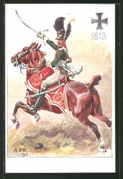 Künstler-AK Angelo Jank: Soldat mit Säbel reitet auf einem Pferd