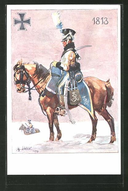 Künstler-AK Angelo Jank: Soldat sitzt auf seinem Pferd im Winter