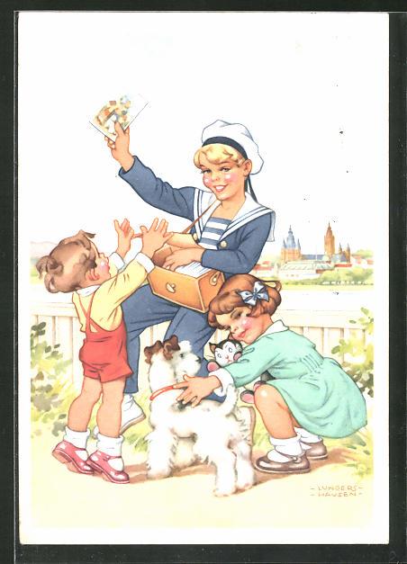 Künstler-AK Ilse Wende-Lungershausen: Blendax-Max verteilt Ansichtskarten