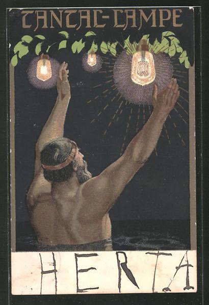 AK Jugendstil-Mann hebt seine Arme, Tantal-Lampen