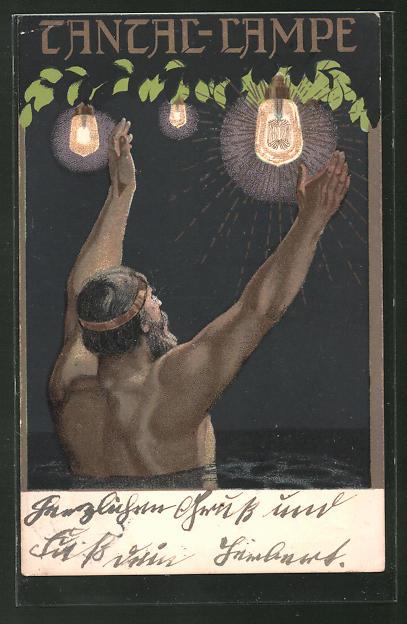 AK Jugendstil-Mann streckt seine Arme hoch, Tantal-Lampen