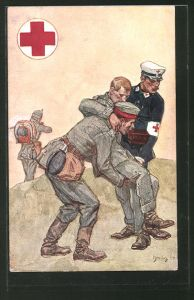 Künstler-AK Sanitäter des Roten Kreuzes rettet Soldaten