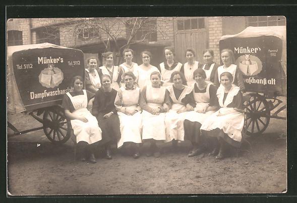 Foto-AK Waschfrauen von Münker's Dampfwaschanstalt