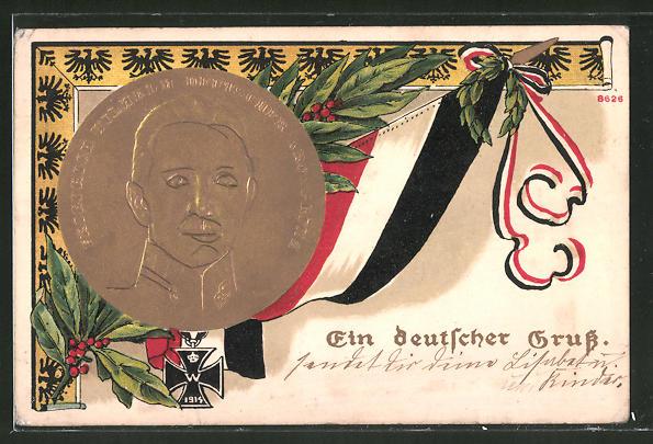 Präge-AK Portrait Kronprinz Wilhelm von Preussen mit Reichskriegsflagge,