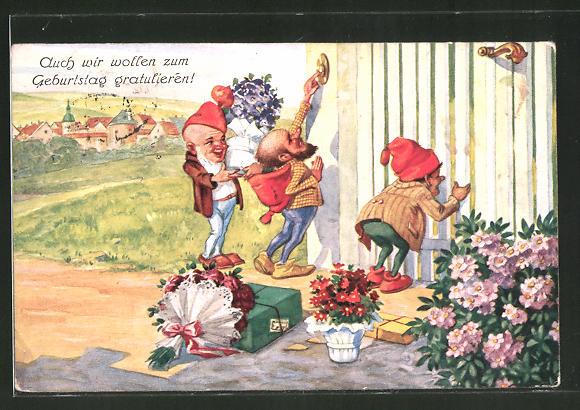 AK Zwerge als Gratulanten mit Blumen und Geschenken