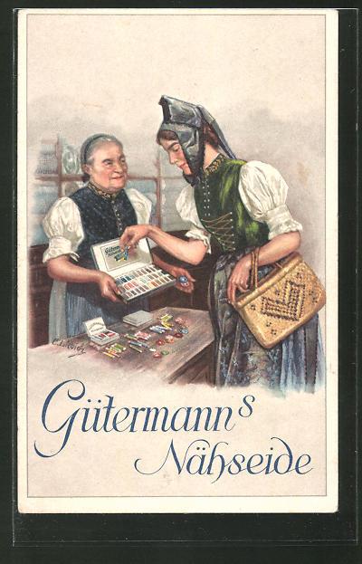 Künstler-AK Curt Liebich: Damen beim Kauf von Nähwaren,