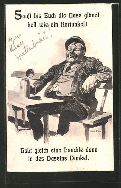 Künstler-AK O. Merte: Mann mit Bierkrug