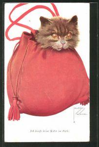 Künstler-AK Lawson Wood: Katze in der Tasche,