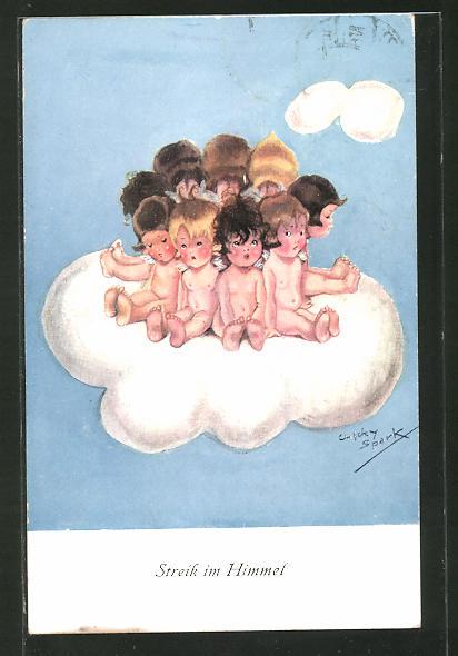 Künstler-AK Chicky Spark: Engel auf einer Wolke,