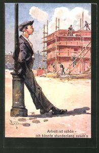 Künstler-AK Ernst Schlemo: junger Mann beobachtet Handwerker bei der Arbeit,