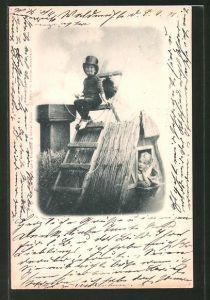 AK Junge als Schornsteinfeger auf dem Dach