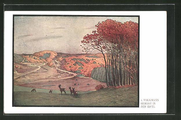 Künstler-AK Hans von Volkmann: Herbst in der Eifel