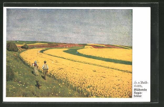 Künstler-AK Hans von Volkmann: Bauern blicken auf blühende Rapsfelder
