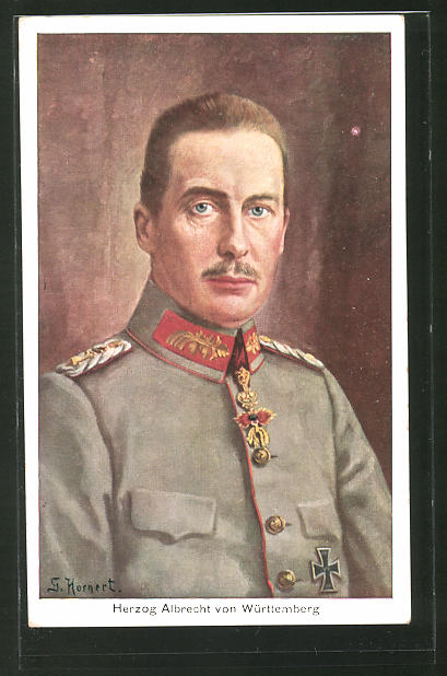 Künstler-AK Herzog Albrecht von Württemberg in Uniform mit Eisernem Kreuz
