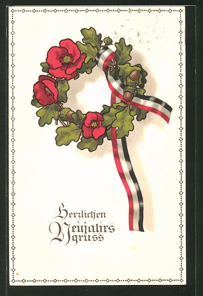 AK Neujahrs Gruss, Kranz mit Haselnüssen, Blumen und Band, Reichsflaggenfarbe
