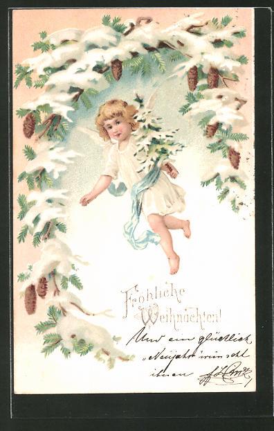 Lithographie Weihnachtsengel hält verschneiten Tannenbaum in der Hand,