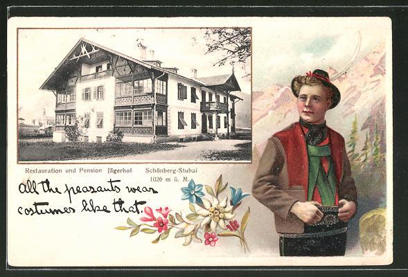 Passepartout-Lithographie Schönberg-Stubai, Restauration & Pension Jägerhof, Mann in Tracht
