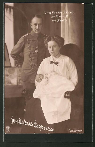 AK Prinz Heinrich XXXIII. von Reuss j. L. mit Familie