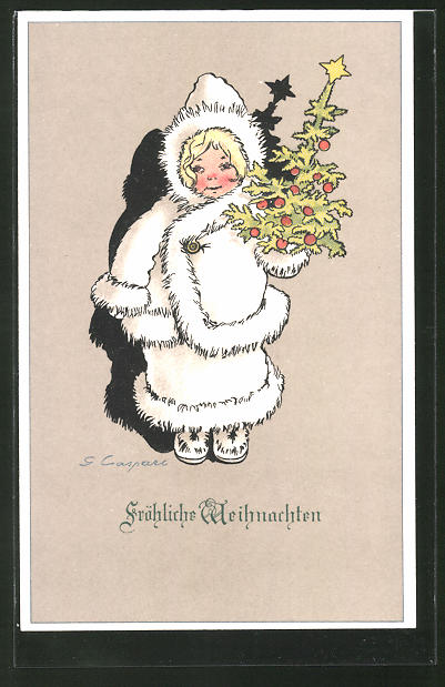 Künstler-AK Gertrud Caspari: Fröhliche Weihnachten!, Mädchen im Wintermantel mit Christbaum