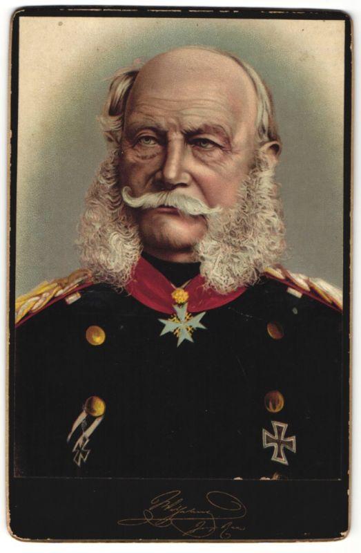 Fotografie Portrait Kaiser Wilhelm I. in Uniform mit Orden Pour le Merite & Eisernes Kreuz