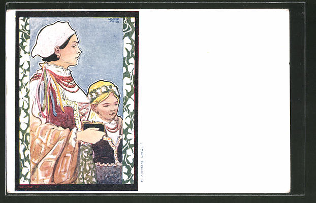 Künstler-AK sign. Wilhelm Wachtel: Mutter und Tochter in Tracht, Jugendstil