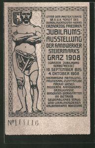 Künstler-AK Graz, Jubiläums-Ausstellung der Handwerker Steiermarks 1908, Schmied mit Hammer