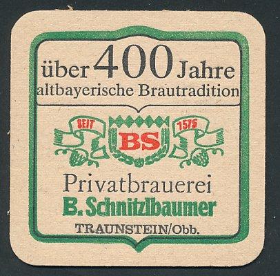 Bierdeckel Traunstein / Obb., Privatbrauerei B. Schnitzlbaumer