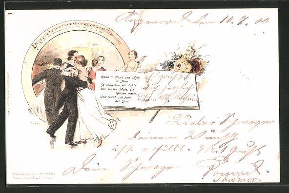 Künstler-Lithographie Georg Mühlberg: Hand in Hand und Arm in Arm... tanzendes Paar