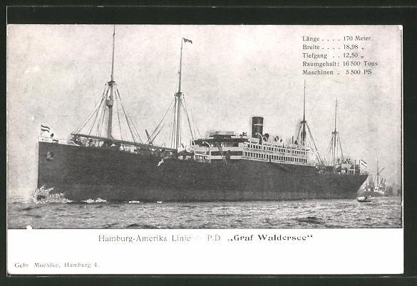 AK Hamburg-Amerika Linie, Passagierschiff Graf Waldersee