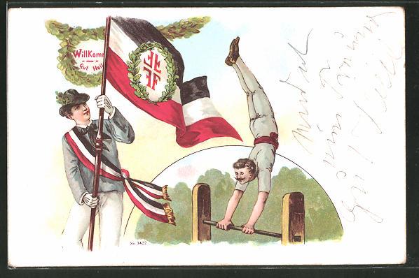 Lithographie Gut Heil, Turner mit Fahne