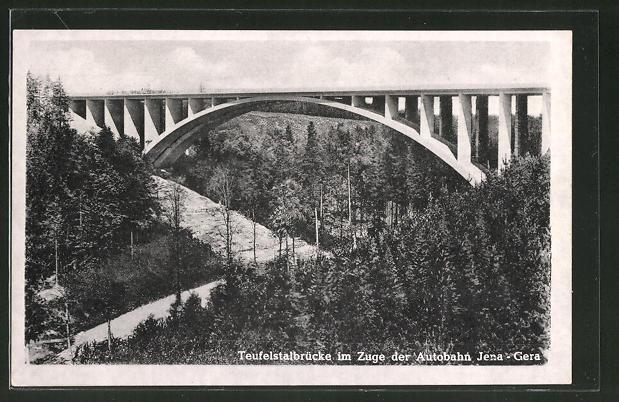 AK Teufelstalbrücke im Zuge der Autobahn Jena-Gera